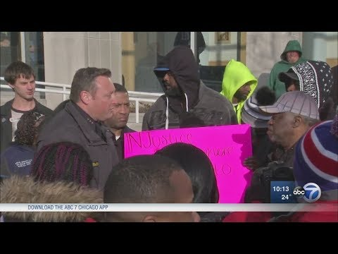 Elgin Police Chief Answers Questions At Protest Outside Station