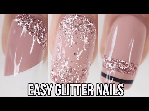 5 EASY Glitter Nail Ideas | Part 4- Pink Glitter