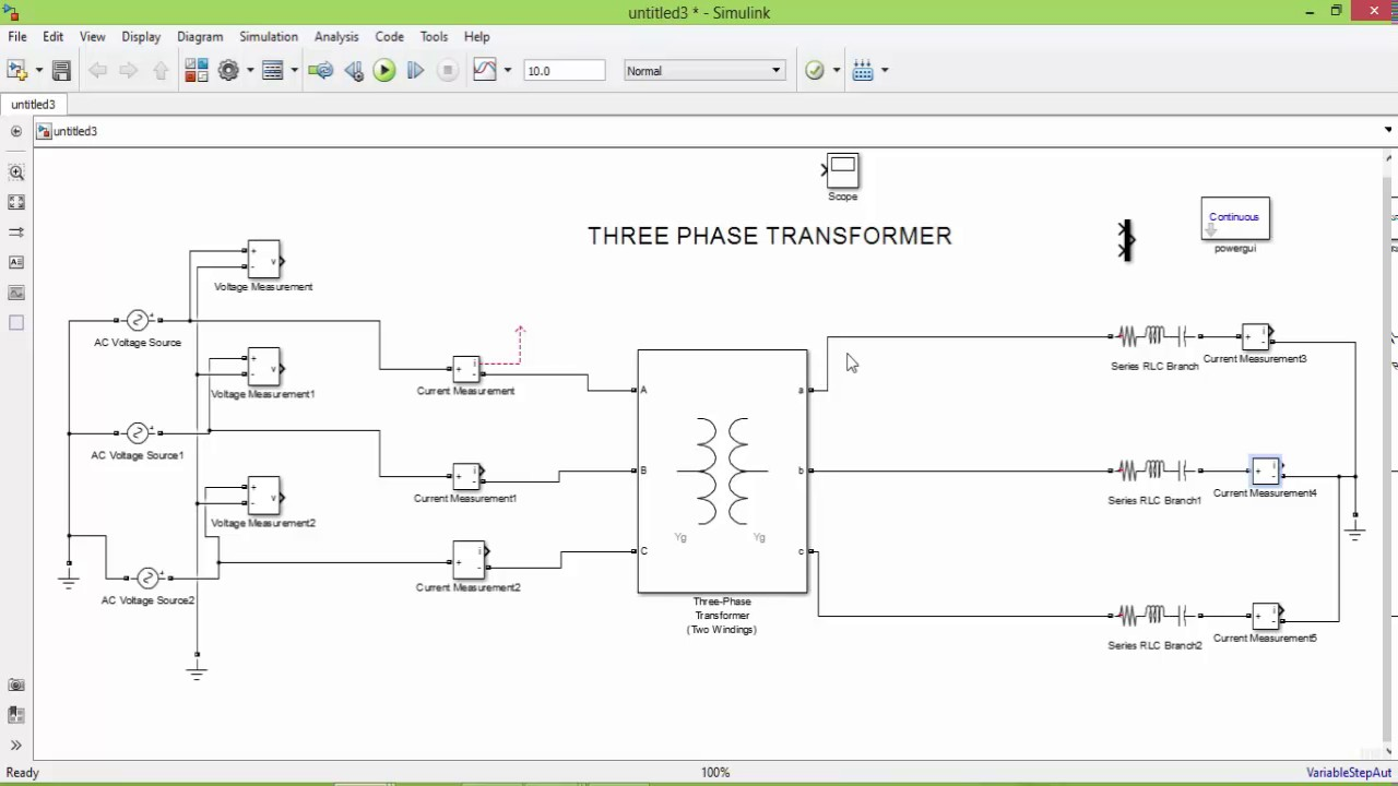 Matlab Simulation of THREE PHASE TRANSFORMER  YouTube