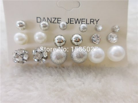 Bead Crystal Stud Earrings Set Pearl Jewelry 7 Style UNBOXING REVIEW ALIEXPRESS