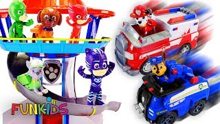 Paw Patrol Rescue Fire Truck Toys Pups Rescue Animals in Adventure Bay!