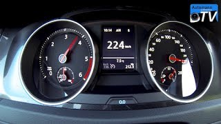 2014 VW Golf 7 GTD (184hp) - 0-224 km/h acceleration (1080p)