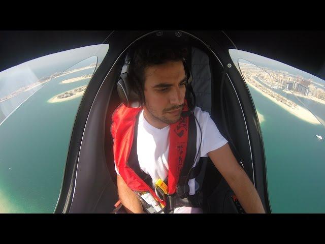 Flying Gyrocopter Calidus Over Dubai City