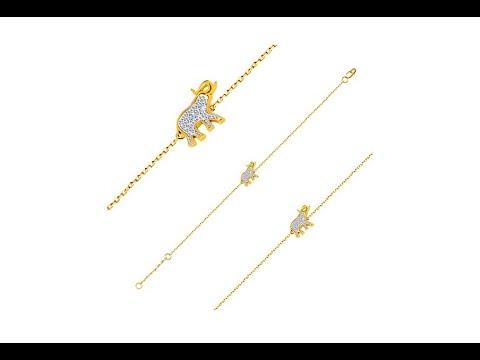 4d47a2d54 Šperky - Náramok zo 14K zlata - sloník s trblietavými zirkónmi, jemná  lesklá retiazka