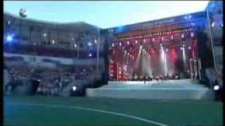 Here you see Ronan Keating performing live at the FIFAWM Show in Ge...