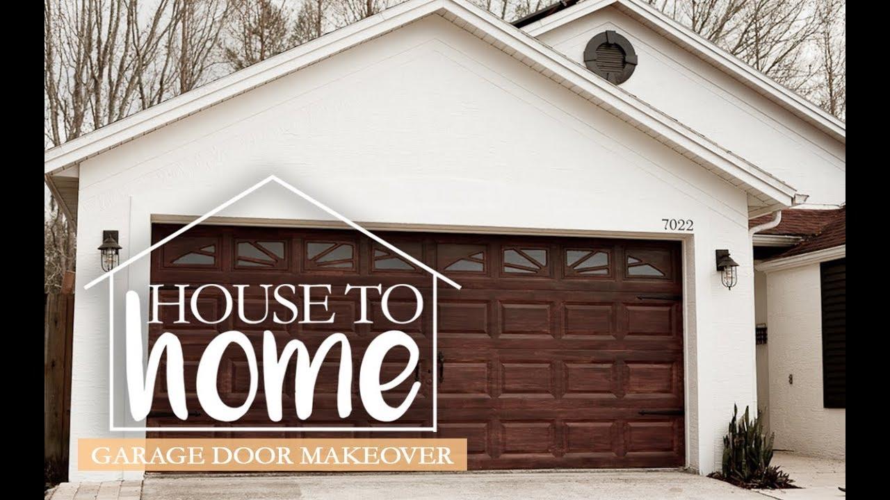 Diy Garage Door Makeover Gel Stain Garage Door To Look Like Wood