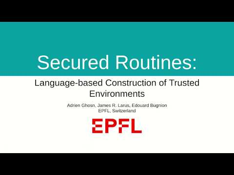 Secured Routines: Language-based Construction of Trusted
