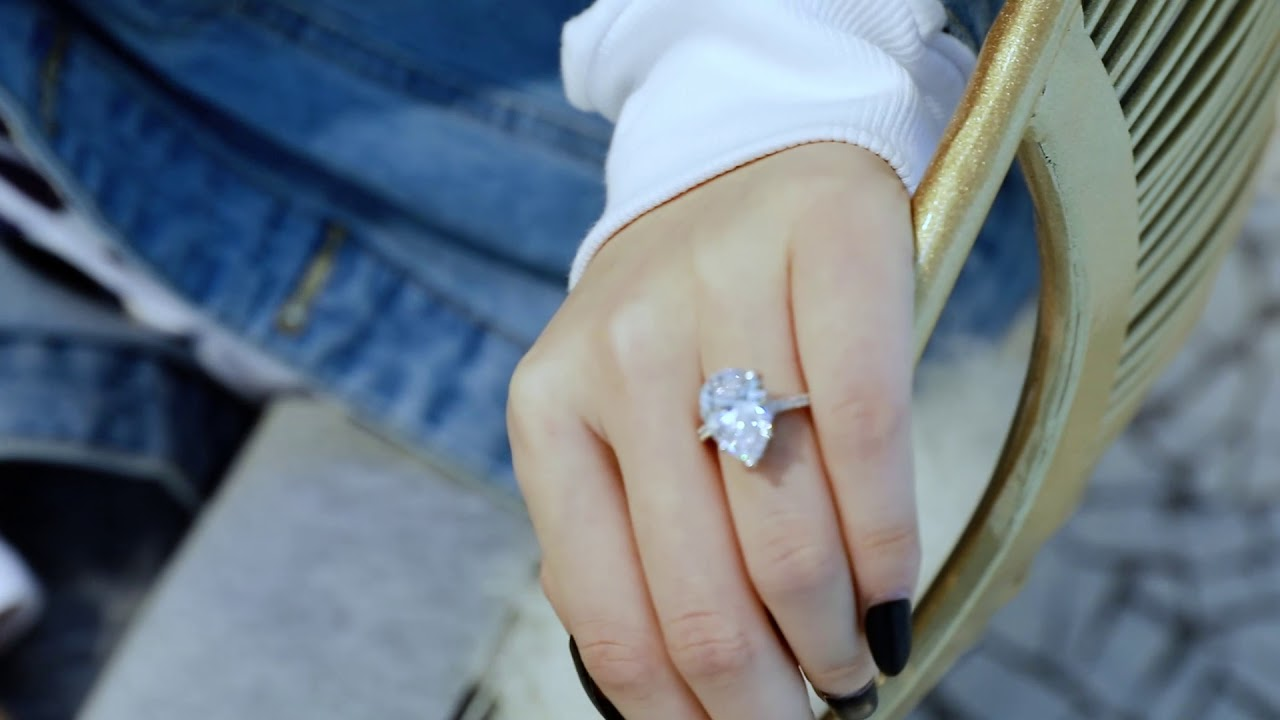 0d9af3752b964 Italo Classic Pear Created White Sapphire Engagement Ring-211255