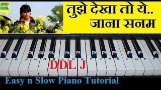 Tujhe Dekha to Ye Jana Sanam Tutorial On Piano With Notes (DDLJ)