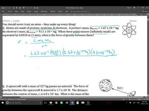 SPH4U Fields 01 Gravitational Fields, & Universal Law of Gravitation