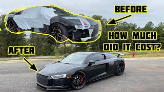 REBUILDING A WRECKED 2018 AUDI R8 IN UNDER 10 MINUTES AND HOW MUCH I SPENT!!