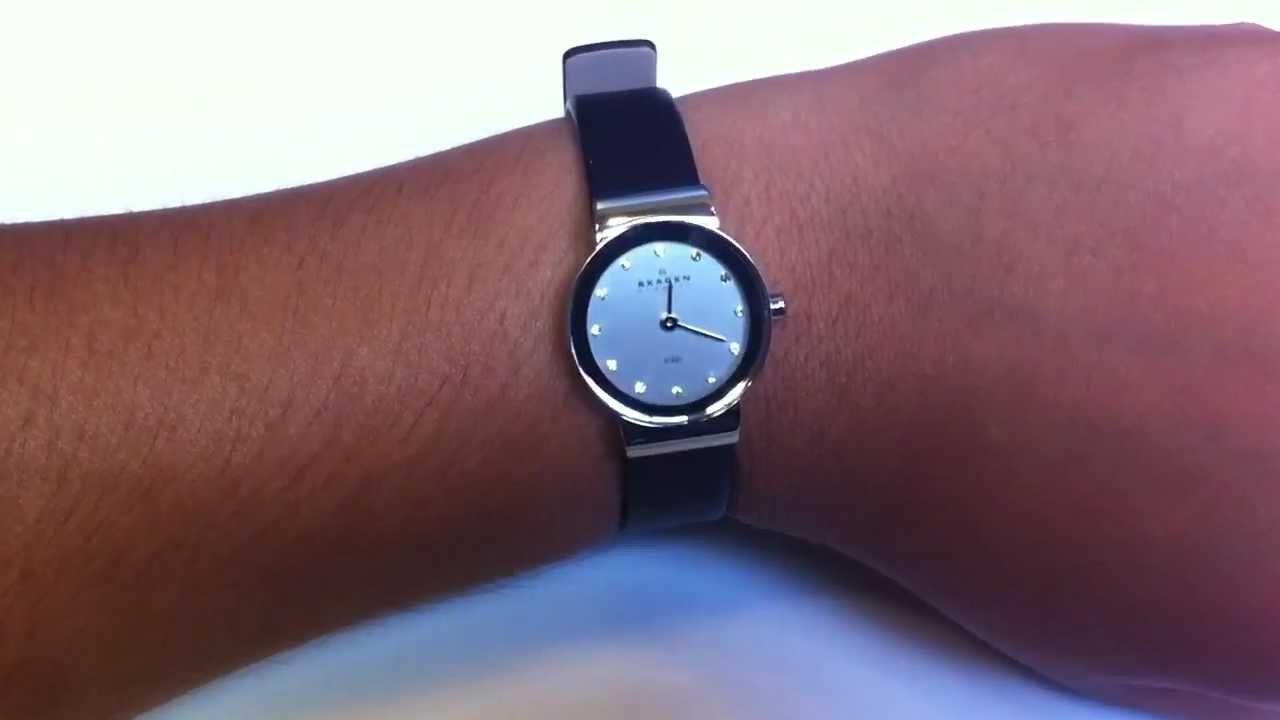 womens skagen denmark leather glitz watch 358xsslbc youtube