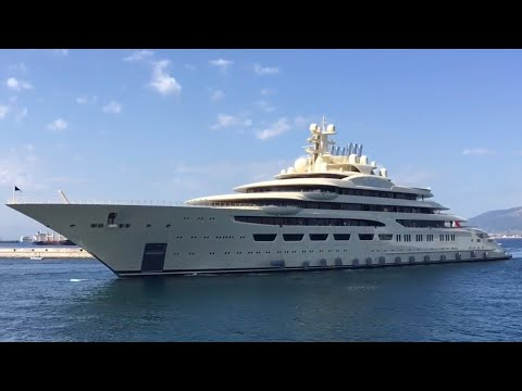 Worlds Largest Yacht (by Volume) Dilbar Inaugural Call At Gibraltar U.K