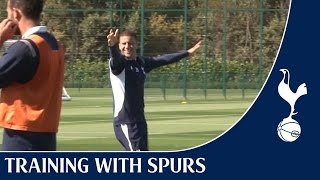 Tottenham Hotspur players shooting practice from the new Training Centre!