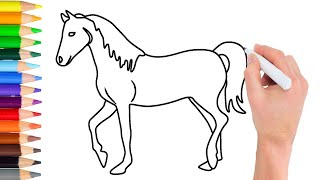 horse drawing draw step easy simple learn getdrawings