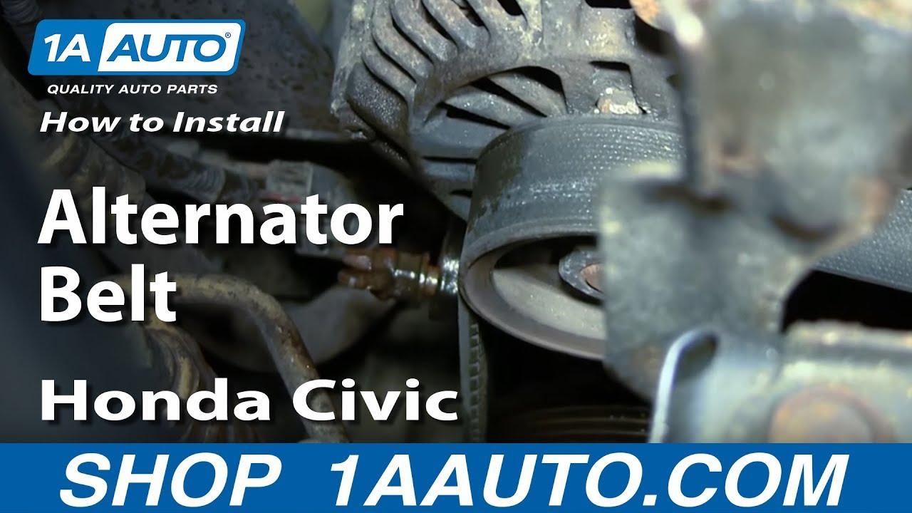 how to replace install alternator belt 2001 05 honda civic [ 1280 x 720 Pixel ]