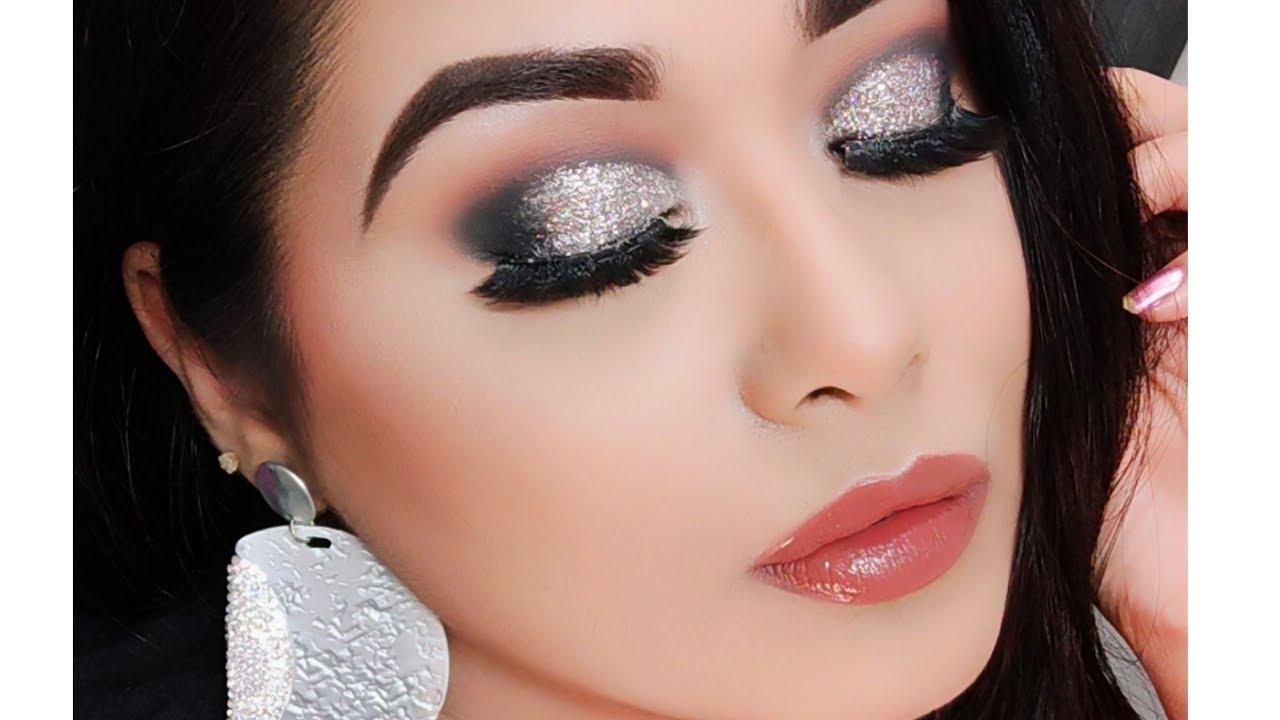 Cocktail Party Makeup Tutorial  Makeup for Black Saree / Dress ( Silver  Glitter Eyes )