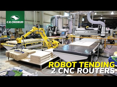FANUC Robotic Tending of two CNC Router - Onsrud Panel Processing Automation
