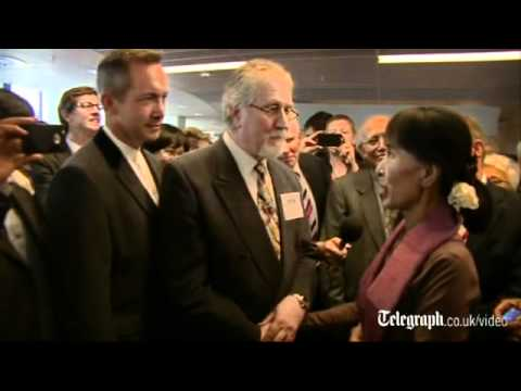Aung San Suu Kyi meets DJ Dave Lee Travis