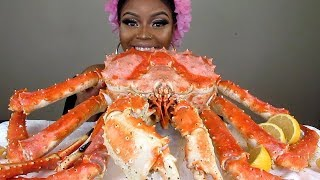 10LB WHOLE ALASKAN KING CRAB MUKBANG! BLOVES SAUCE, QUTTIEQUE SAUCE,AND ALFREDO SAUCE!