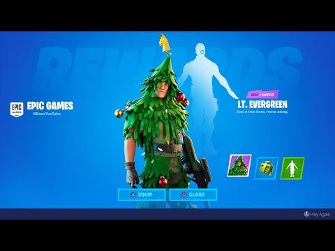 FORTNITE CHRISTMAS TREE SKIN BUG GLITCH! FORTNITE LT. EVERGREEN CHRISTMAS TREE SKIN NOT UNLOCKING