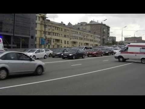 Moscow Ambulance car in  Garden Ring Road of Moscow