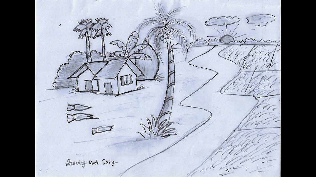 How To Draw Village Scenery, Easy, House For Kids With Pencil step by step #1