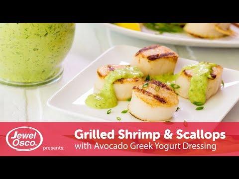 Grilled Shrimp & Scallops with Avocado Greek Yogurt Dressing | Summer Grilling | Jewel-Osco