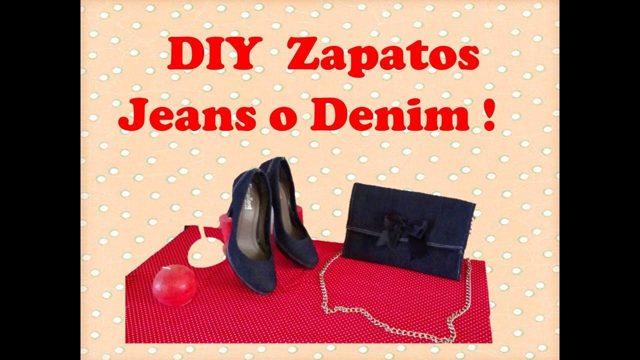 Diy como forrar zapatos con tela jeans denim customizar - Ideas para decorar zapatos de nina ...