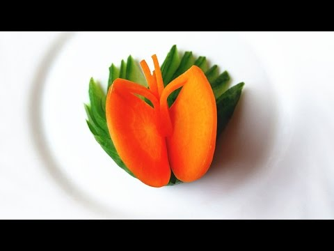 how to make carrot butterfly garnish vegetable carving garnish