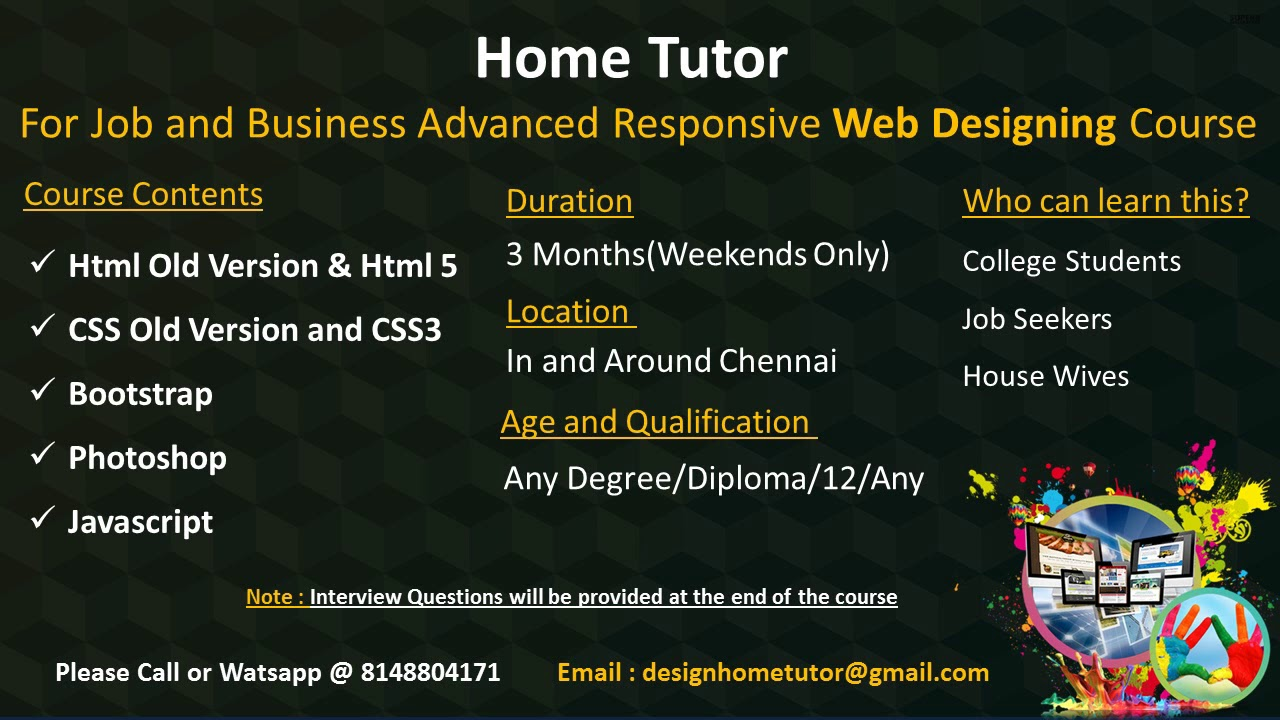 Home tutor for job and business oriented advanced web - Online web designing jobs from home ...
