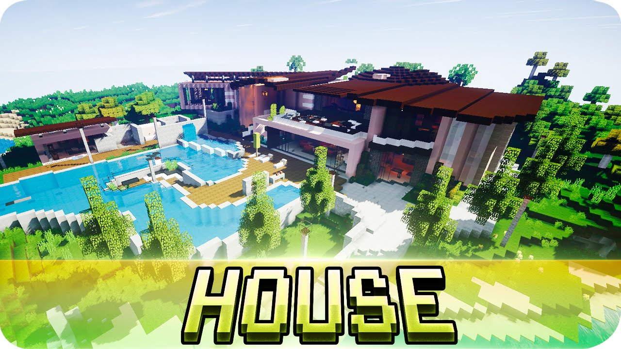 Minecraft beautiful modern house map w download for Modern house map