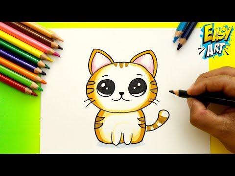 Cómo Dibujar un GATO KAWAII - How to Draw CUTE CAT - Dibujos Kawai ...