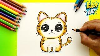 Cómo Dibujar un Gato estilo CUTE - How to Draw Cat - Dibujos Kawai - Easy Art