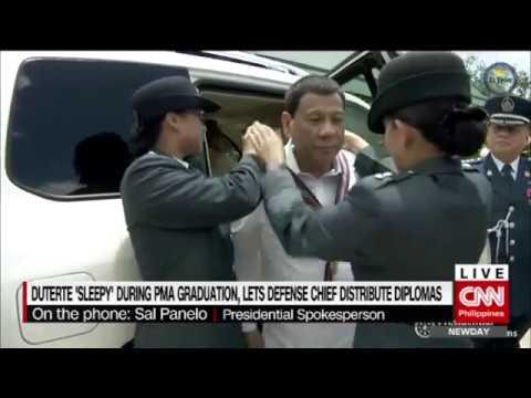 Duterte 'sleepy' during PMA graduation, lets Defense chief distribute diplomas