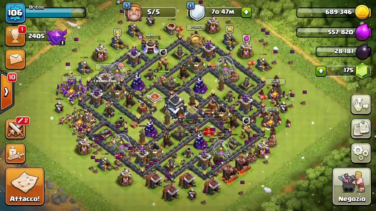 36 >> VILLAGGIO TH9 MAXATO-clash of clans ITA - YouTube