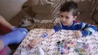 Рисуем тату-котика бархатом и блестками