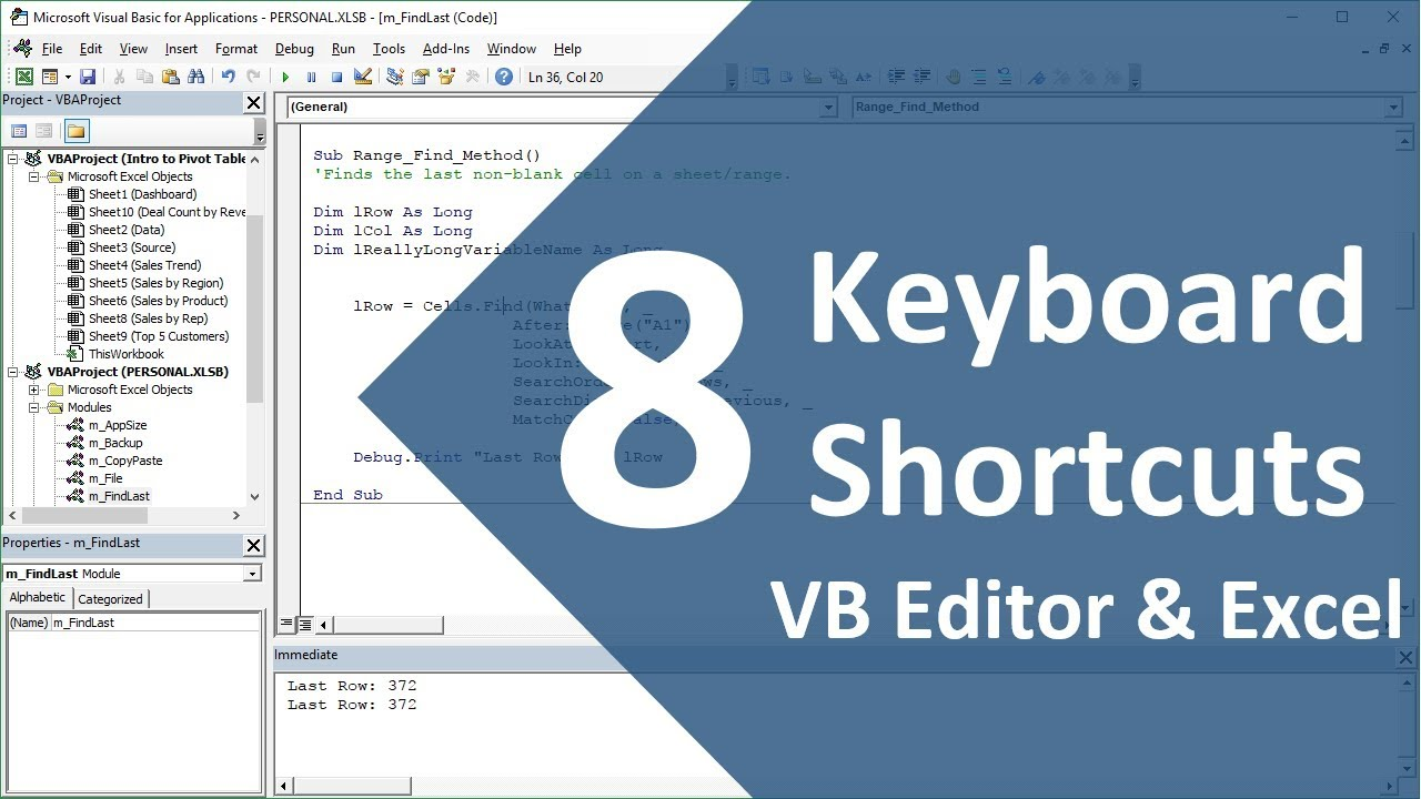8 Keyboard Shortcuts for the VBA Editor in Excel