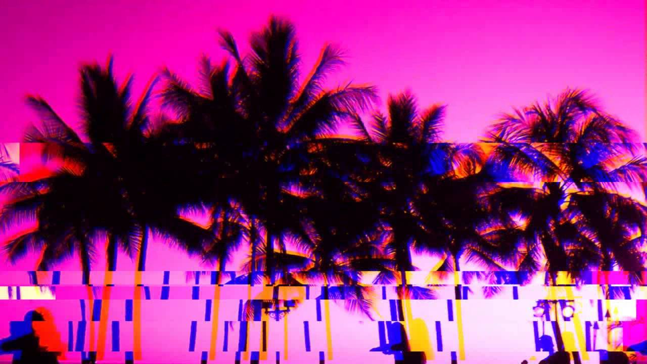Pink Palm Trees Hex Glitch  #Trend