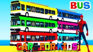 learn color bus on car w spiderman cars cartoon for kids colors for children nursery rhymes