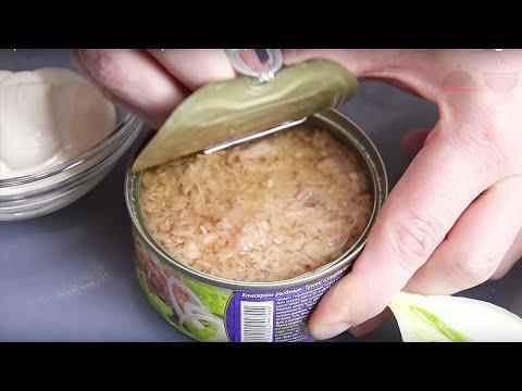 Салат с тунцом консервированным, огурцом, яйцами - рецепт
