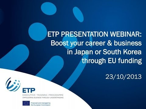 Boost your career and business in Japan or South Korea through EU funding - ETP webinar