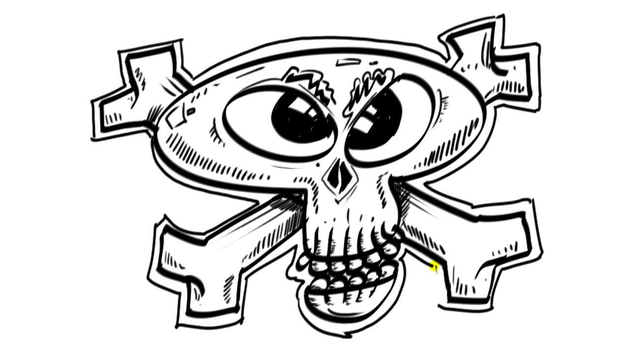 Draw Cartoon Skull and Crossbones   Things to Draw When You're