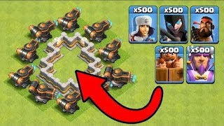 10 Flamethrowers vs 500 All New Troops Clash of Clans