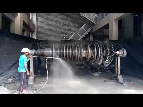 Steam turbine in thermal power plant.