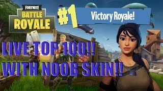 LIVE FORTNITE TOP 100 WITH NOOB SKIN - 390 WINS - FORTNITE BATTLE ROYALE (NL/DUTCH)!!