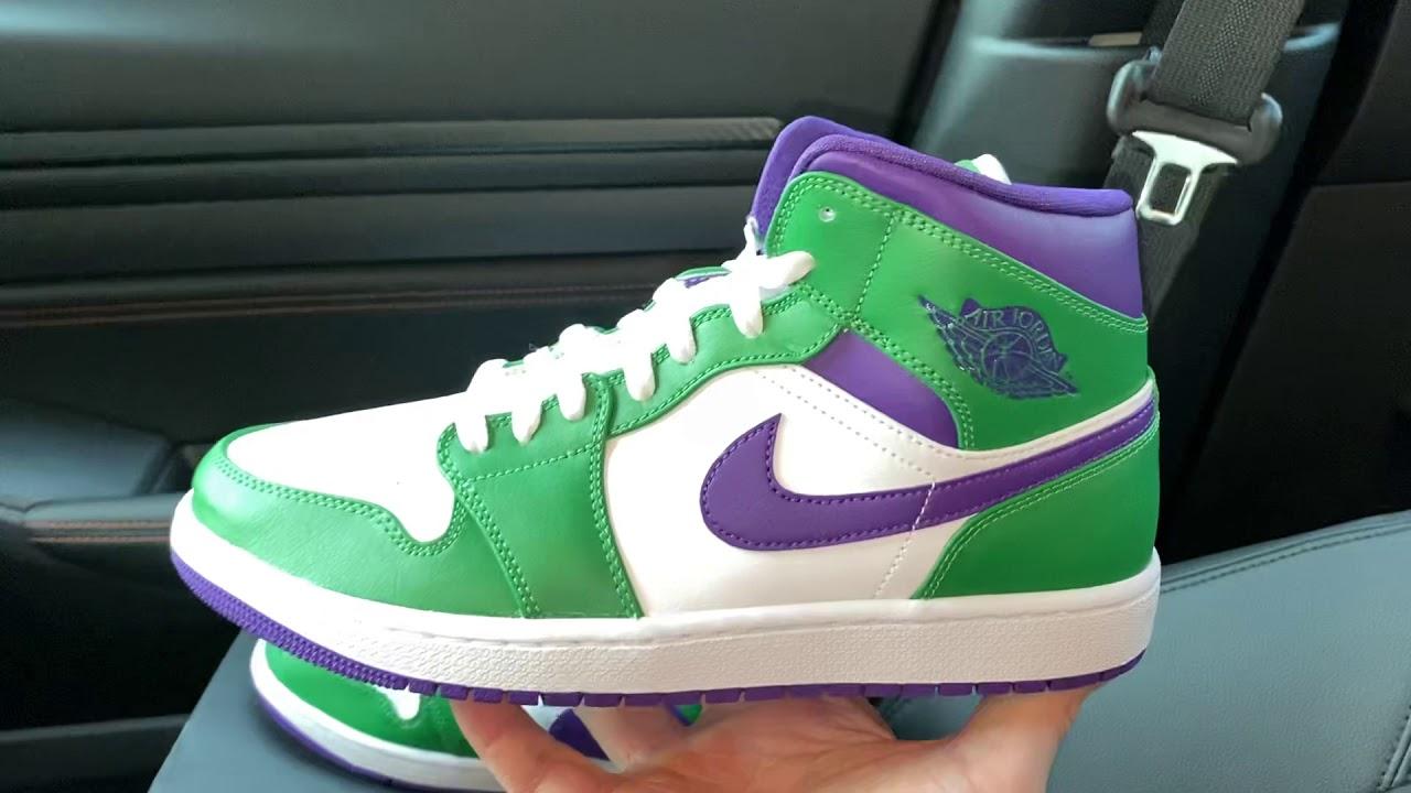 Air Jordan 1 Mid Green Purple Joker