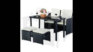 5 pcs Outdoor Patio Cushioned Rattan Dining Table Chair Set Slideshow