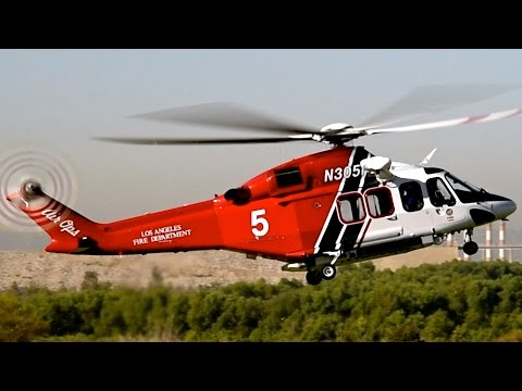 LA City Fire AW-139 Landing (American Heros Air Show 2015)