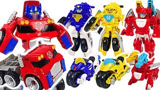 Transformers Rescue Bots Bumblebee, Chase motocycle and giant Optimus Prime! #DuDuPopTOY